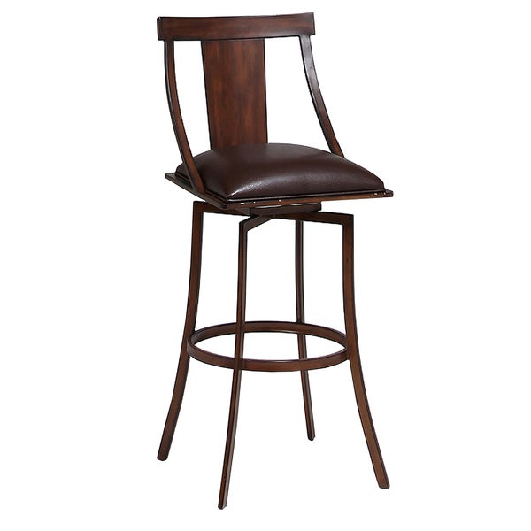 Amrita Brown Faux Leather and Expresso Steel Swivel Stool