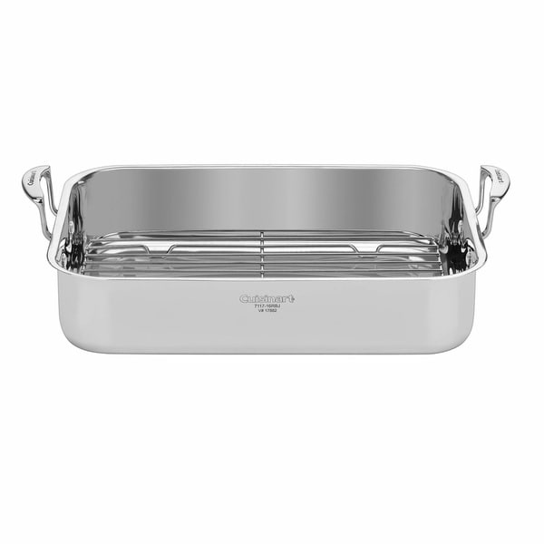 Cuisinart 16-inch Stainless Steel Roaster with Rack, Riveted, Stainless Steel Handles