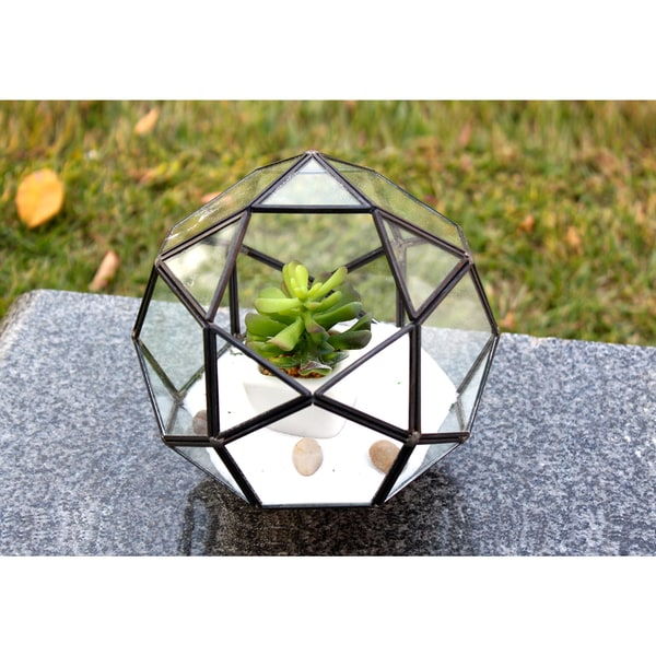 Icosidodecahedron Copper and Glass 7.5-inch x 7-inch Complicated Muti-facet Geometric Terrarium