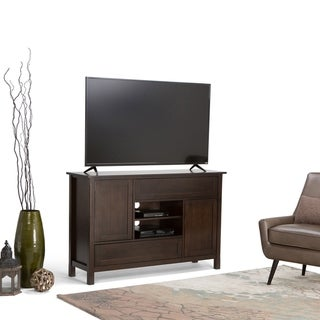 WYNDENHALL Fleming SOLID WOOD 54 inch Wide Contemporary TV Media Stand in Dark Chestnut Brown For TVs up to 55 inches