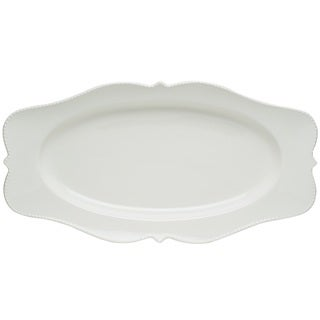 "Red Vanilla Pinpoint White Oval Platter 16.5"" x 9"""