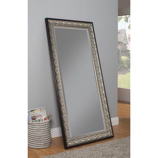 Sandberg Furniture Monaco Full Length Leaner Antique Silver and Black Mirror