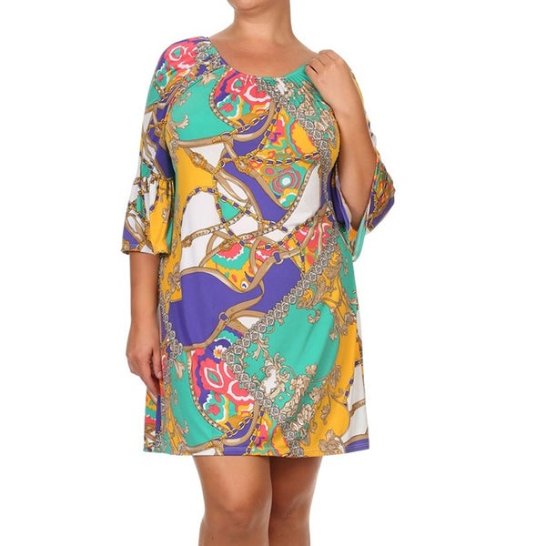 Women's Plus-size Floral Chain Belt Shift Dress