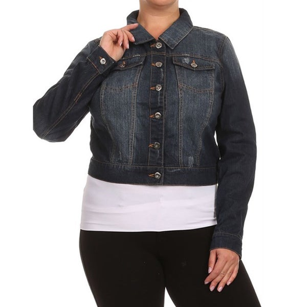 Women's Blue Denim Plus Size Button-down Jacket