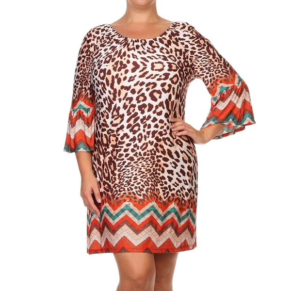 Women's Plus Size Leopard Print Shift Dress