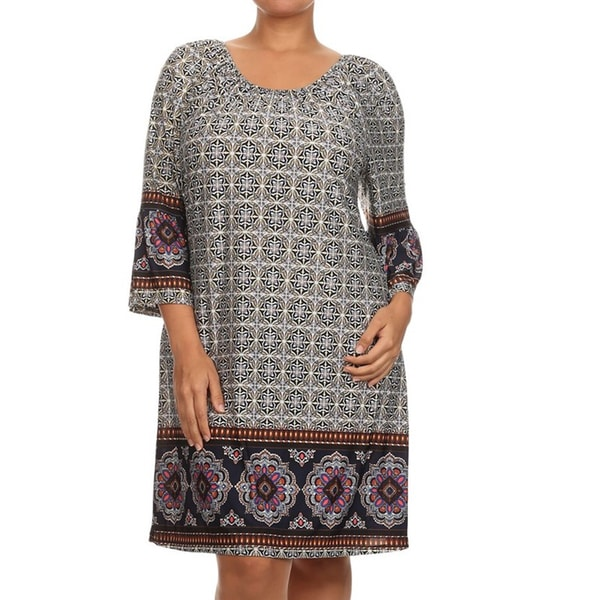 Women's Grey Chiffon Plus-size Shift Dress