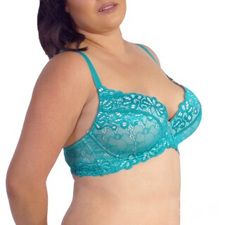 Prestige Biatta Overlay Multi-colored Nylon/Spandex Lace Convertible Push-up Bra