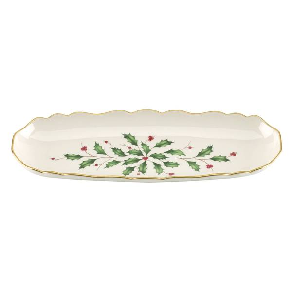 Lenox Holiday Archive Green Porcelain Cracker Tray