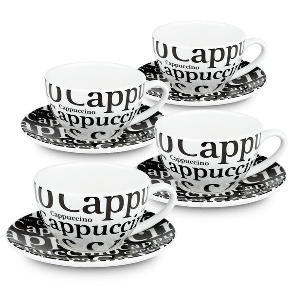 Konitz Waechtersbach Coffee Bar #4 'Writing in Black' Porcelain Cappuccino Cups With Saucers (Gift Boxed Pack of 4) 19507449