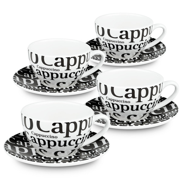 Konitz Waechtersbach Coffee Bar #4 'Writing in Black' Porcelain Cappuccino Cups With Saucers (Gift Boxed Pack of 4)