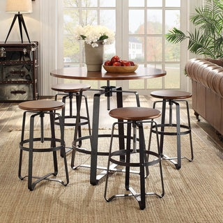 Nova Chestnut Adjustable Table with Black Metal Frame