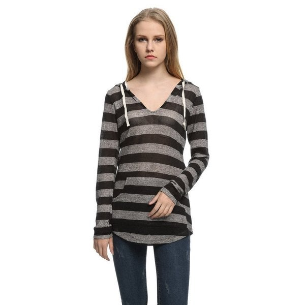 Junior's Game Of Love Weekend V-Neck Striped Knit Hooded Sweatshirt with Contrast Tie