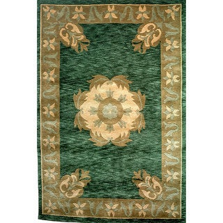 Abbyson Living Hand-knotted 'Oceans of Time' Green Wool Rug (9' x 12')