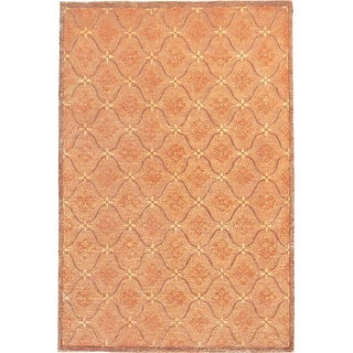 Abbyson Living Hand-knotted 'Oceans of Time' Gold Wool Rug (9' x 12')