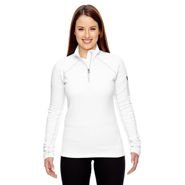 Women's Stretch White Fleece Half-zip Jacket