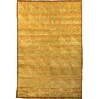 Abbyson Living Hand-knotted 'Oceans of Time' Gold/ Burlywood Wool Rug (9' x 12')