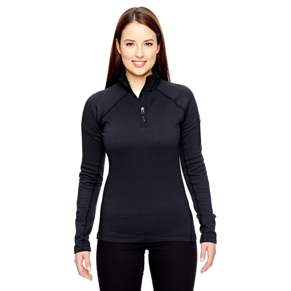 Women's Black Fleece Stretch Half-Zip Jacket