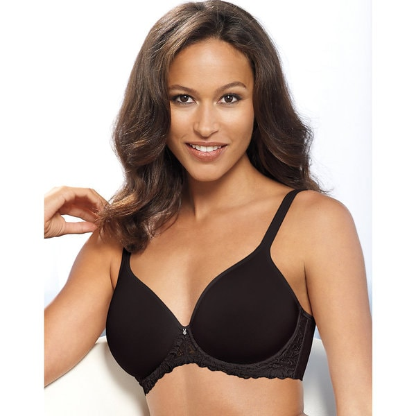 Bali Women's One Smooth Black Nylon Comfort-U Ultra-light Embroidered-frame Underwire Bra