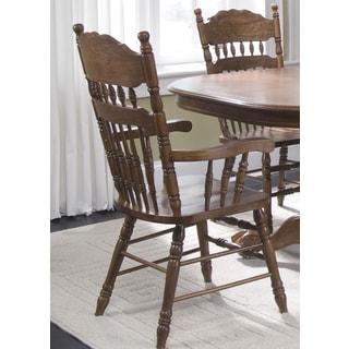 Old World Medium Oak Embossed Back Arm Chair