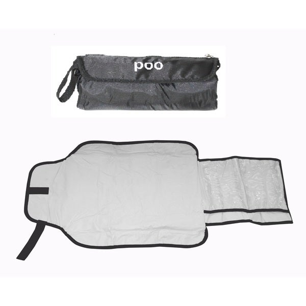Silly Souls 'Poo' Black Nylon Diaper Clutch Changing Bag