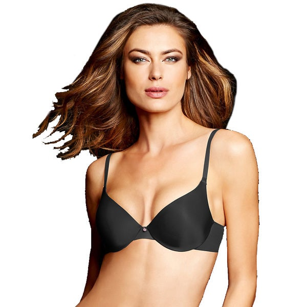 Maidenform Women's Live in Luxe Black with Spicy Bronze Tailored Demi T-shirt Bra