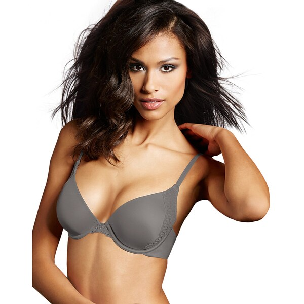 Maidenform Women's Love the Lift Steel Grey Natural Boost Demi T-Shirt Bra