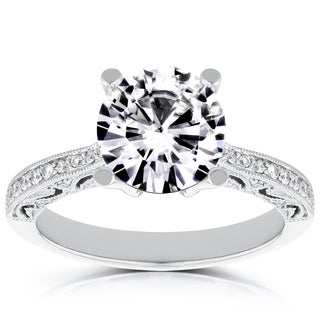 Annello White Palladium 1 7/8ct TDW Round Diamond Engagement Ring (H-I, I1-I2)