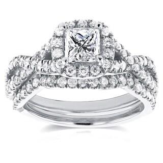 Annello 14k White Gold 1 1/5ct TDW Princess Diamond Halo Crossover Double Band Bridal Rings Set (H-I, I1-I2)