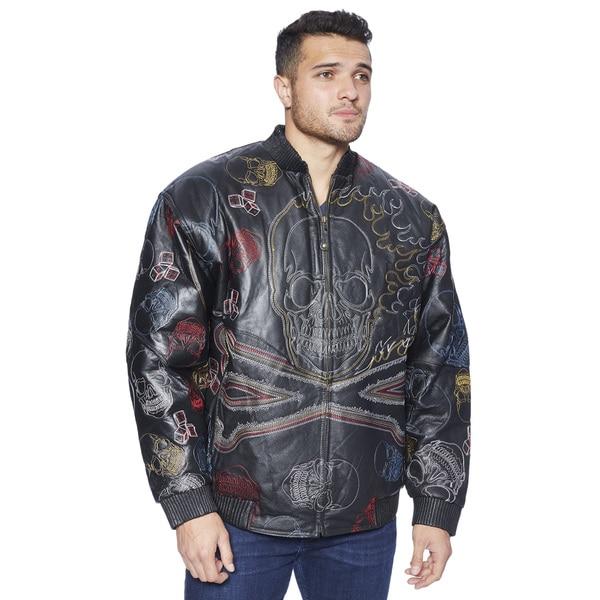 Wilda Men's Big & Tall Bubble Well Flaming Skull Black Leather Jacket