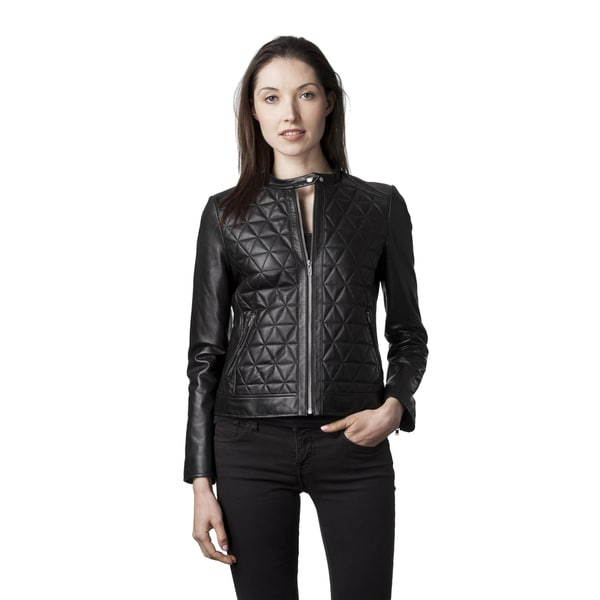 Mason & Cooper Women's Skyler Black Navy Lambskin Leather Fully Lined Moto Jacket
