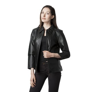 Wilda Leather Women's Black/Brown Fully Lined Scuba Jacket