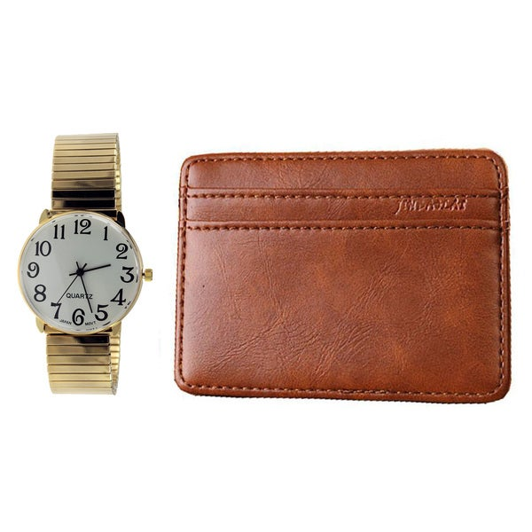 Mens Watch Set Gold Easy Read Stretch Band Watch with Slim Money Holder