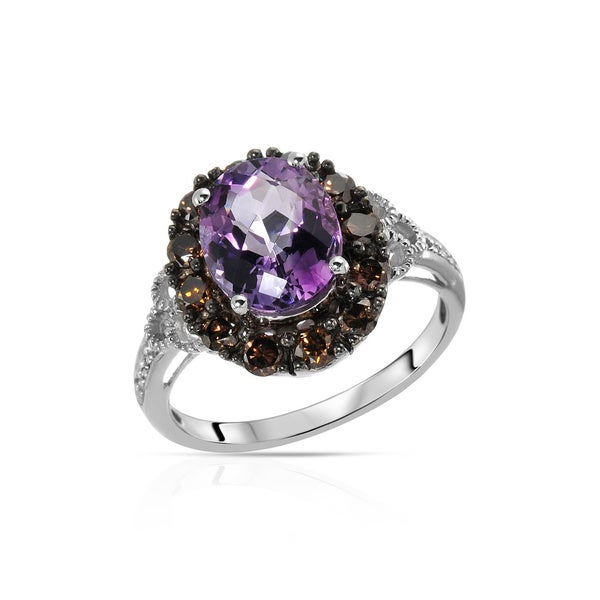 Fay Pay Jewels 14k Gold 3.29-carat Amethyst, Diamond Ring