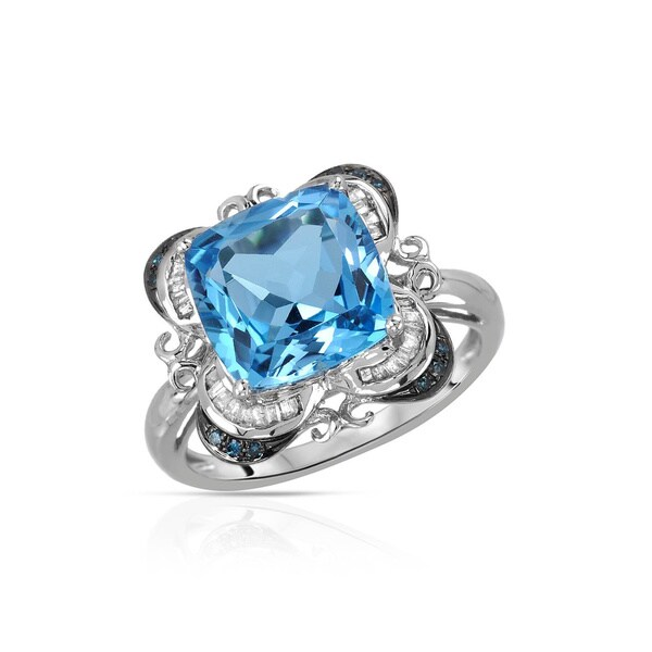 Fay Pay Jewels 14k White Gold 5.28k Sky Blue Topaz Fancy Intense Blue Enhanced/G-H Diamond Size 7 Ring