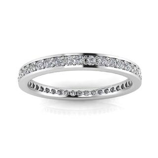 Platinum 5/8ct TDW Round-cut Diamond Channel Pave-set Eternity Ring