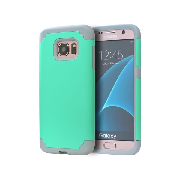 Grey and Teal Hybrid Case/Skin for Samsung Galaxy S7 19517871