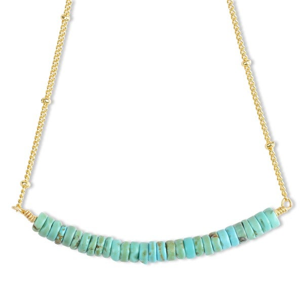 Mint Jules Turquoise Bead Bar Necklace With 14k Gold Overlay Chain 19517995