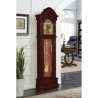 Coaster Cherry Wood Grandfather Clock with Chime