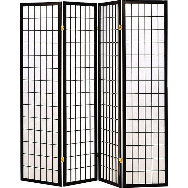 Coaster Black Fabric/ Wood 4-panel Folding Screen