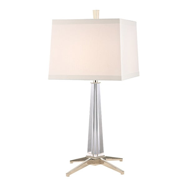 Hudson Valley Hindeman 1-light Polished Nickel Table Lamp, White 19518265