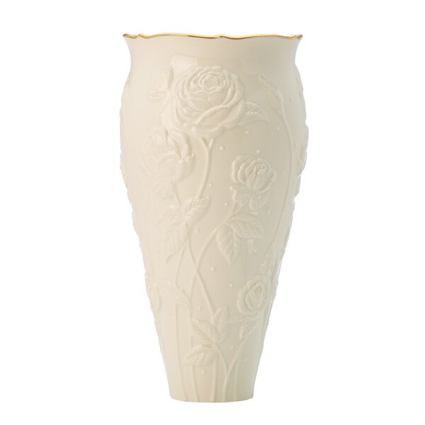 Lenox Gold Porcelain Ivory Rose Large Vase