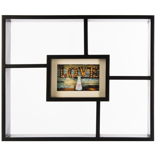 Gallery Solutions Window Pane Black Wood Decorative Wall Shadowbox