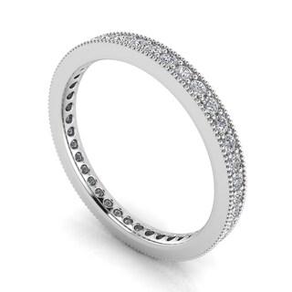 Platinum 5/8ct TDW Round-cut Diamond Pave and Milgrain-set Eternity Ring