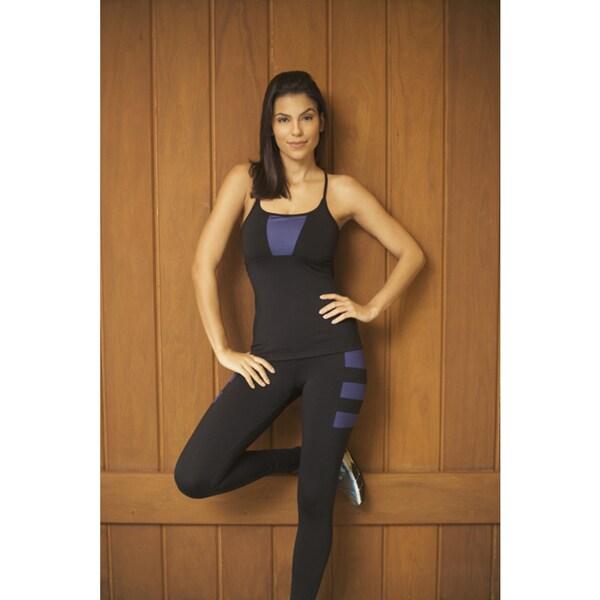 Be Up Women's Black/Purple Polyester/Spandex Leggings