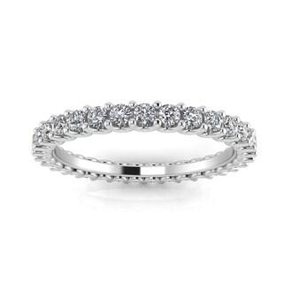 Platinum 5/8ct TDW Round-cut Diamond Shared Prong-set Eternity Ring