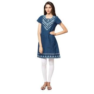 In-Sattva Ethnicity Women's Indian Blue Abstract Print Kurta Tunic
