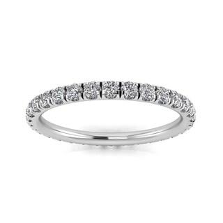 Round Brilliant Cut Diamond Split Prong Set Eternity Ring In Platinum - Ring Sizes 4-9 with 2.5MM Diamonds