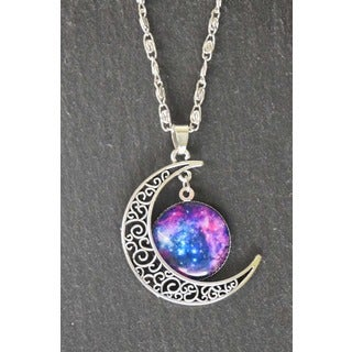 Mint Jules Ornate Moon and Galaxy Silver Pendant Necklace