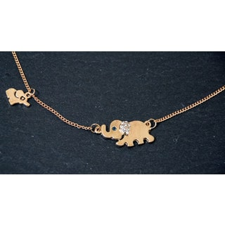 Mint Jules Goldtone Elephant Family Stroll Necklace With Crystal Accent