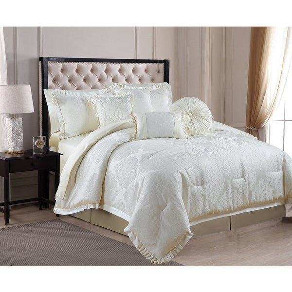 Verona 8-piece Luxurious Puckered Jacquard King-size Comforter Set